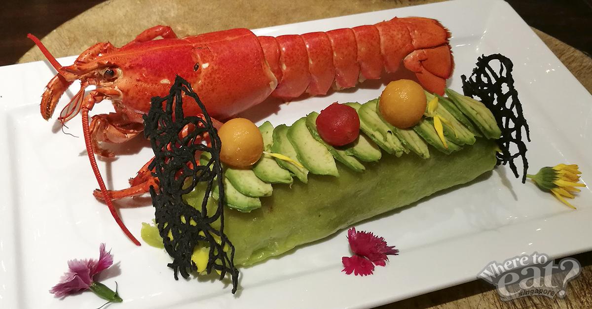 """""""Progress & Advancement Wealth"""" Sautéed Boston Lobster Meat with Blue-Swimmer Crabmeat in Avocado Wrap topped with Fish Roe and Caviar"""